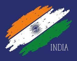 bandera india del día de la independencia pintada vector