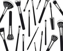 patrón de accesorios de pinceles de maquillaje vector