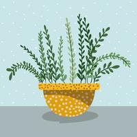 beautiful houseplant in pot vector