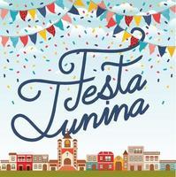 festa junina with village scene and garlands vector