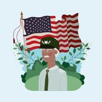 afro veteran military man with usa flag in the field vector