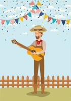 young farmer playing guitar with garlands and fence vector