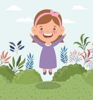 happy little girl in the field landscape vector