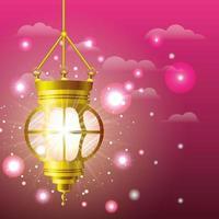 ramadan kareem golden lamp hanging vector