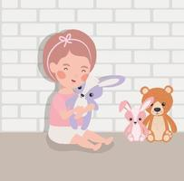 little baby girl with stuffed toys character vector