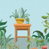 Plantas de interior en una silla de madera, escena de jardín vector