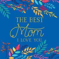 tarjeta del día de la madre feliz con decoración floral vector
