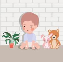 little baby boy with stuffed toys character vector