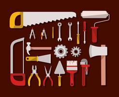 construction tools set items vector