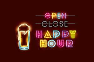 happy hour with beer jar fonts neon lights vector