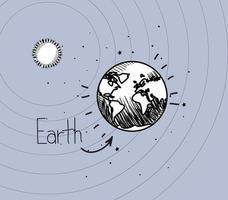 El planeta tierra y el sol dibujan el diseño del sistema solar. vector