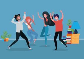 young people dancing in the livingroom vector