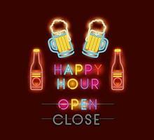 happy hour with beers fonts neon lights vector