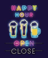 happy hour with beer jars fonts neon lights vector
