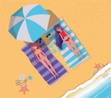 Girls tanning with swimwear design vector