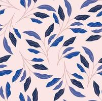 blue foliage seamless pattern background vector