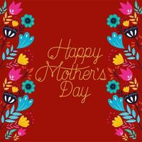 happy mothers day card with floral decoration vector