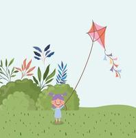 niña feliz volando cometa en el paisaje de campo vector