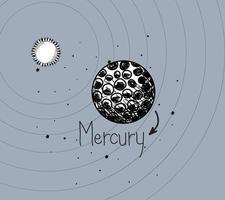 El planeta mercurio y el sol dibujan el diseño del sistema solar. vector