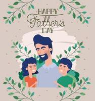 happy fathers day card with dad and kids vector