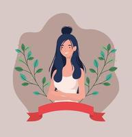 young woman with frame ribbon and leafs vector