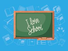 pizarra y útiles escolares vector