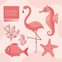 living coral set vector