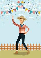 young farmer celebrating with garlands and fence vector