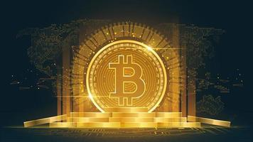Bitcoin cryptocurrency with pile of coins vector