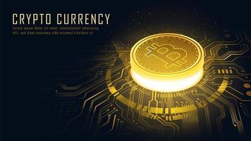 Golden Bitcoin blockchain technology isometric concept vector