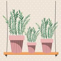 Plantas de interior en perchas de macramé y columpio. vector