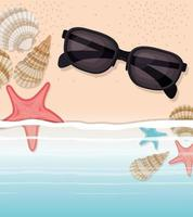 concha de mar y estrella en el diseño de arena. vector