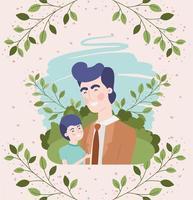 feliz día del padre tarjeta con personajes de papá e hijo vector