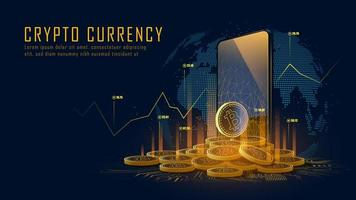Bitcoin cryptocurrency concept with pile of coins vector
