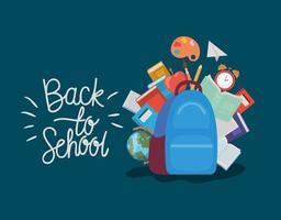 mochila y útiles escolares vector