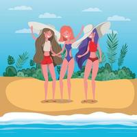 Girls with summer swimwear design vector
