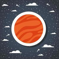Space planet on the sky vector