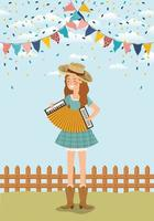female farmer playing accordion with garlands and fence vector