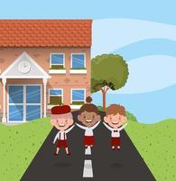 school building with interracial kids