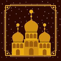 frame with golden mosque building with stars sky vector