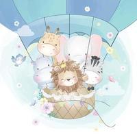 Cute animals flying in hot balloon illustration vector