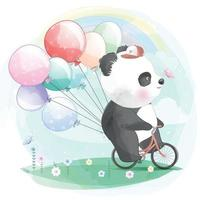 Cute panda riding a bicycle illustration vector