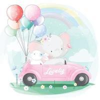 Cute elephant driving a car with bunny illustration vector