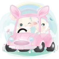 Cute bunny driving a car illustration vector