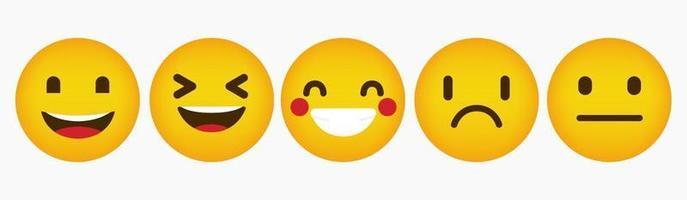 Flat Emoticon Reaction Design Collection vector