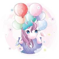 Cute unicorn flying in hot air balloon illustration vector