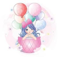 Cute mermaid flying in hot air balloon illustration vector