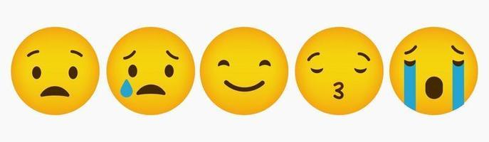 Reaction Emoticon Flat Design Collection vector