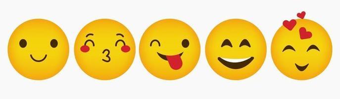 Design Emoticon Reaction Flat Collection vector
