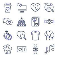 Pack of Love and Valentine Colored Line Icons vector